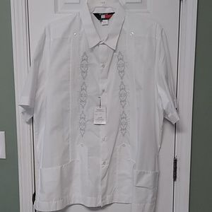 Men's white guayabera with light grey embroidery 1